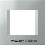 """Рамка """"LINE"""" декоративная 2 модуля, ES серебряный металлик"""