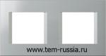 "Рамка ""LINE"" декоративная 2х2 модуля, ES серебряный металлик"