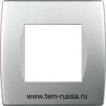 """Рамка """"SOFT"""" декоративная 2 модуля, ES серебряный металлик"""