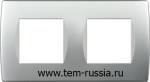"Рамка ""SOFT"" декоративная 2х2 модуля, ES серебряный металлик"